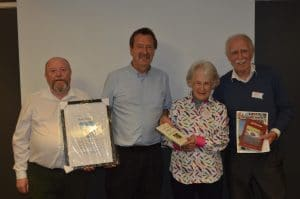 Presentation to John Parker, Chairperson Nottinghamshire Local History Association, Jimmy Conway, Doreen Mc Bride and Larry Breen.